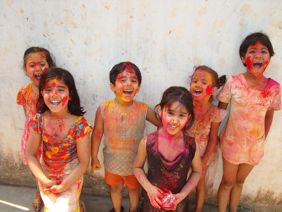 holi fest india children