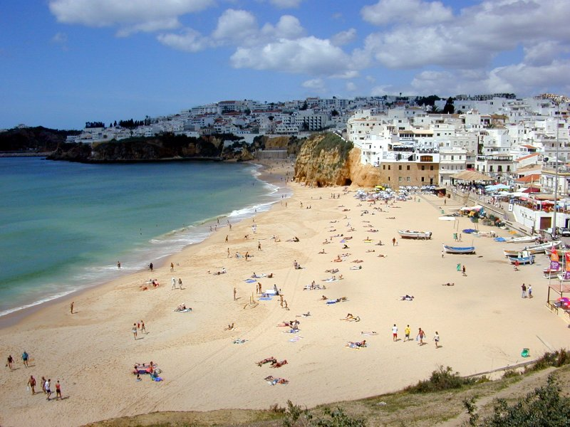 beach at albufeira portugal sea resort