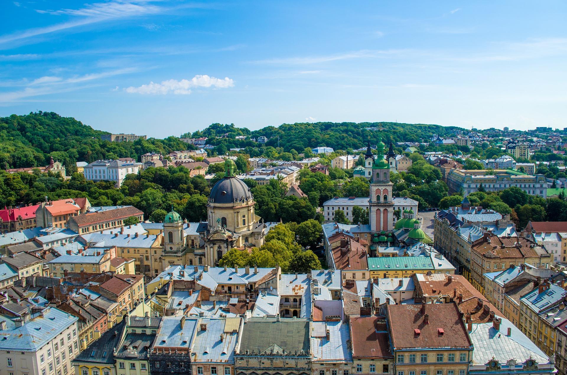 lviv ukraine town hall panorama
