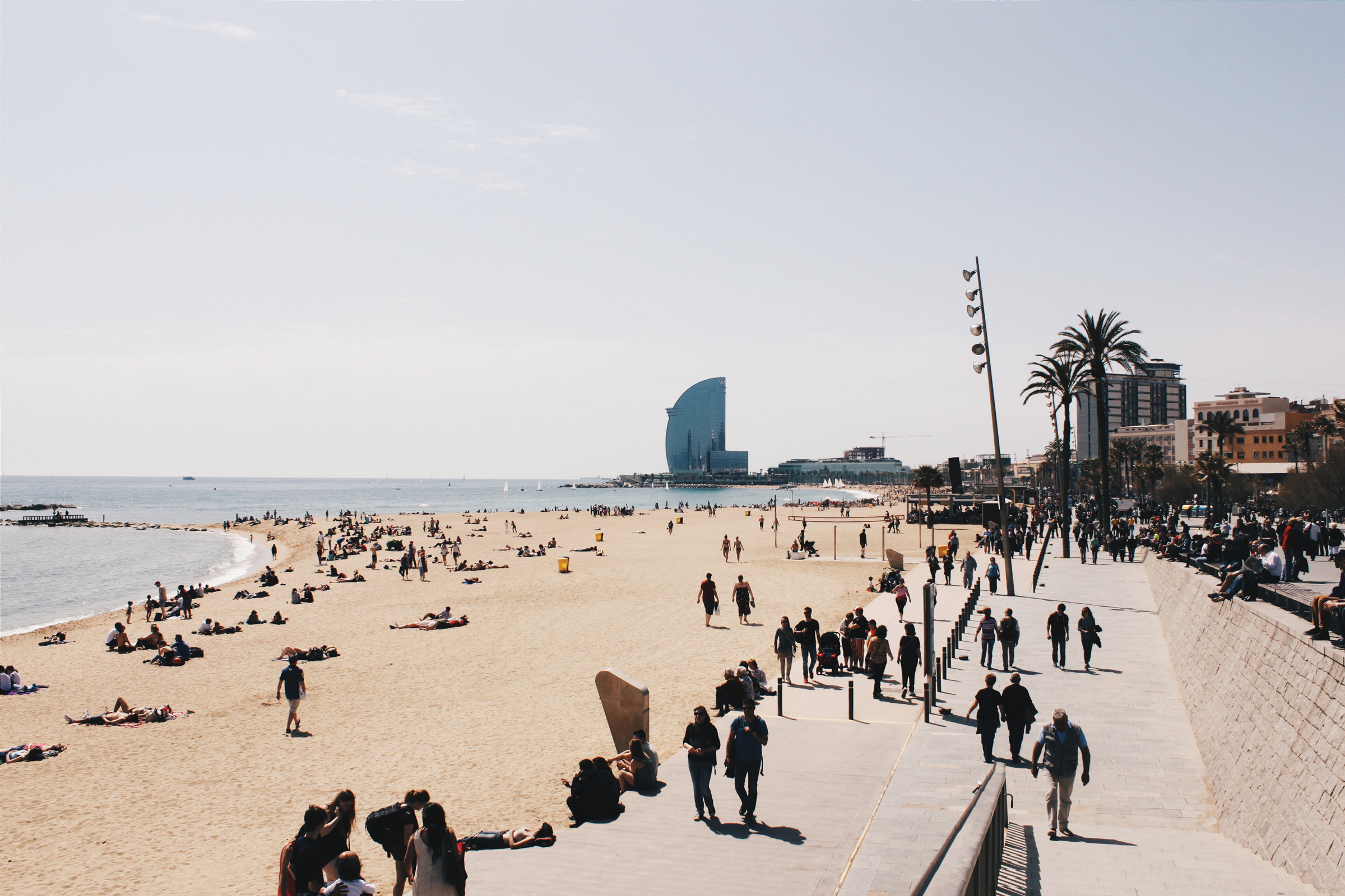 Barceloneta beach in Barcelona, Spain