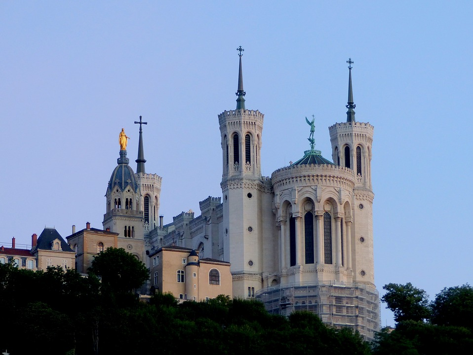 Basilica of Notre-Dame de Fourviere in Lyon, France