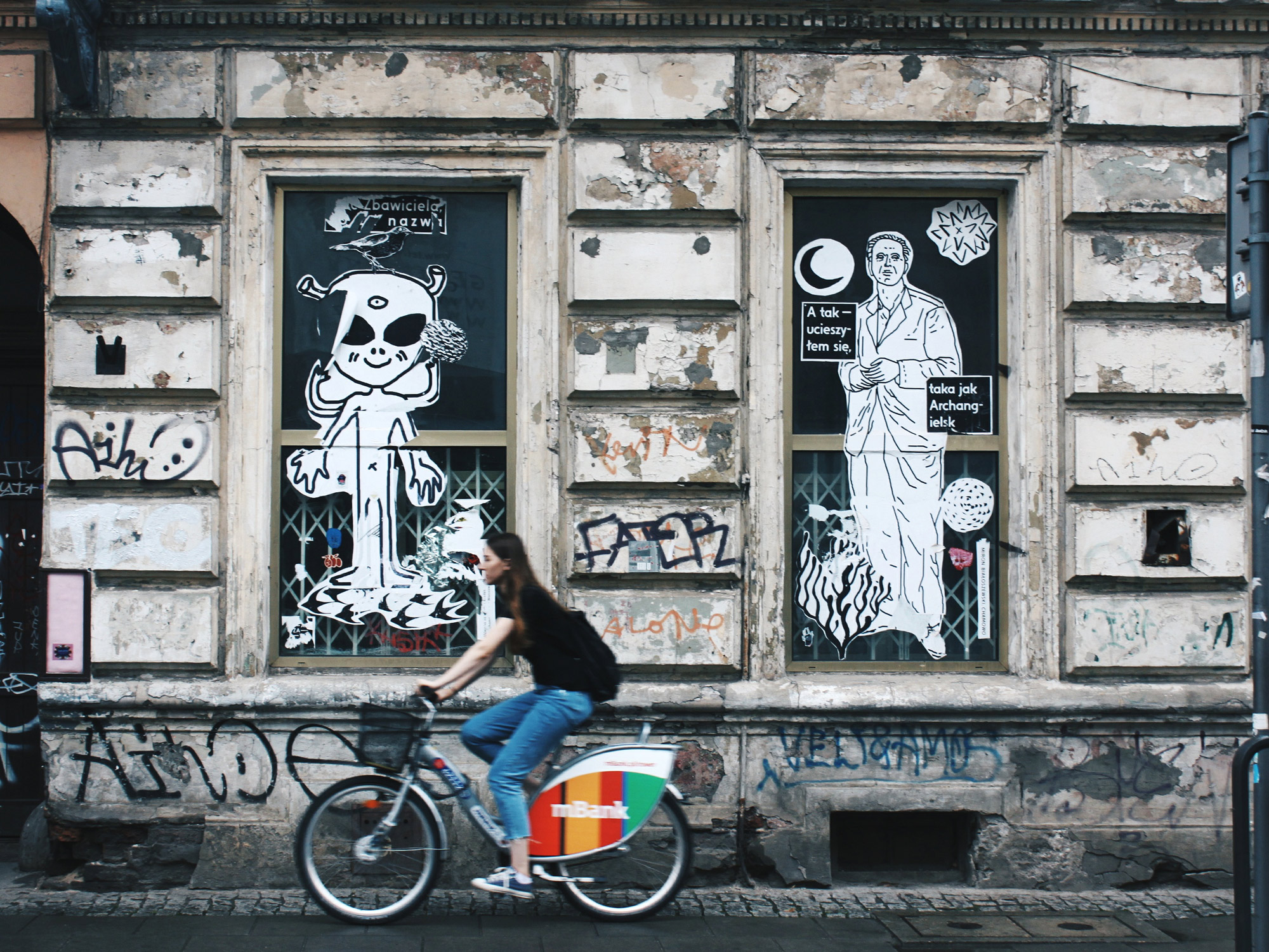 girl riding a bike in Warsaw
