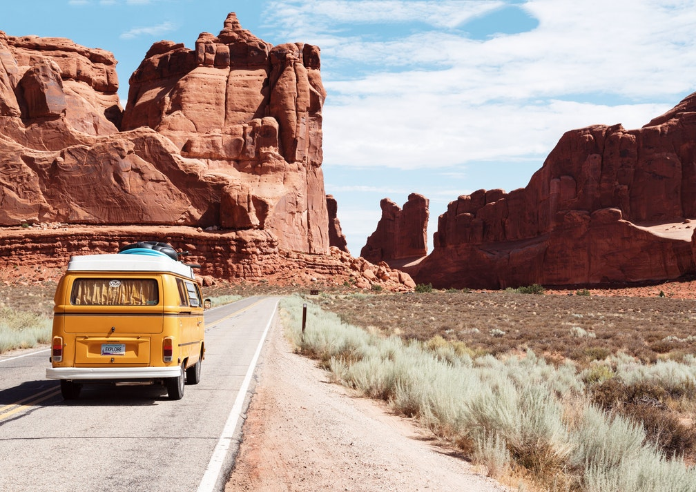 Car, driver, national park, nature, rocks