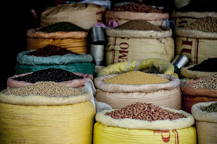 local market, Vietnam, marketplace, cereals