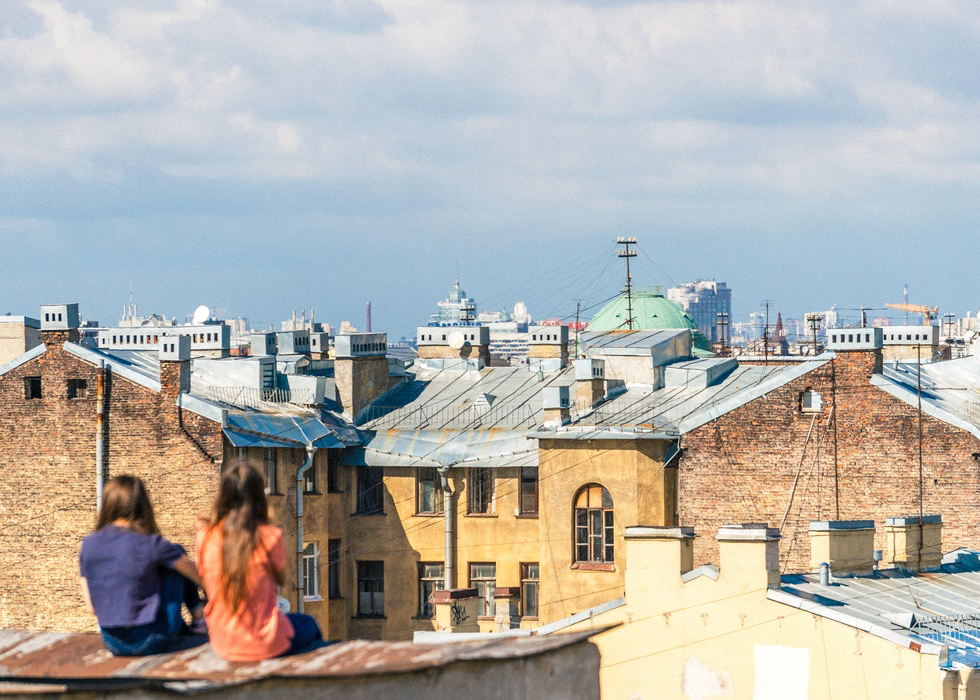 Saint Petersburg, Russia, Roofs, Girls sitting on the roof