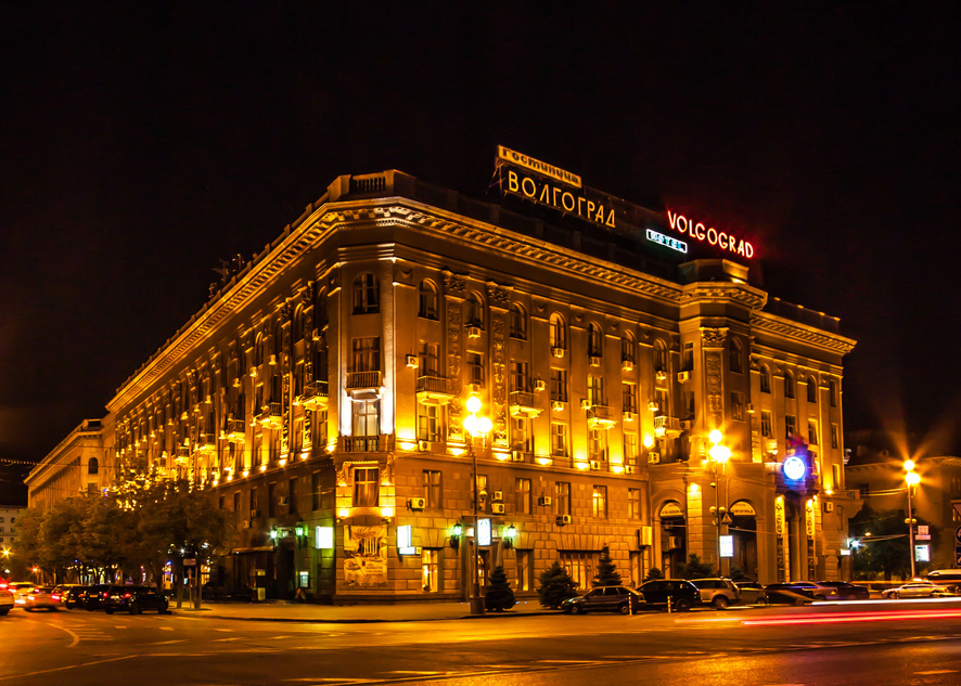 Volgograd hotel at night