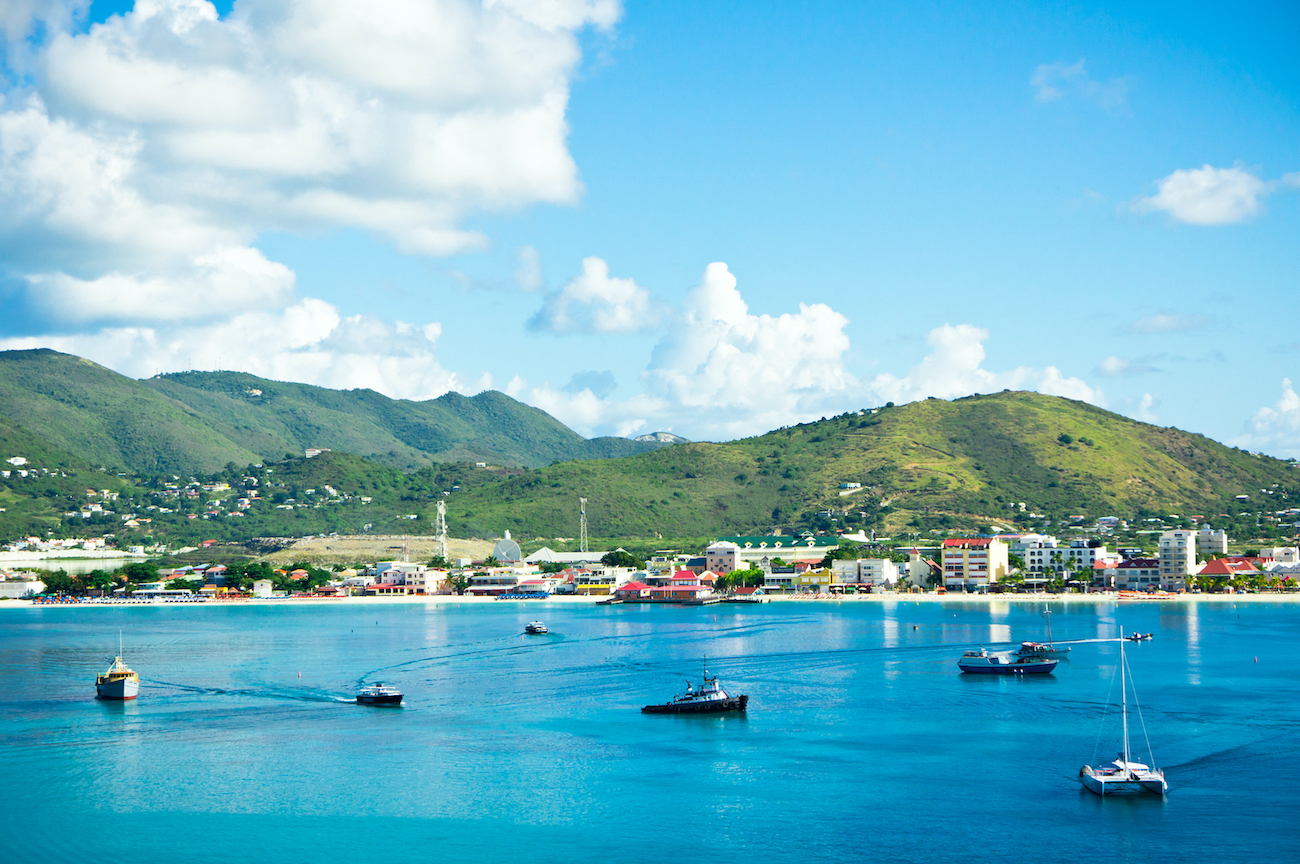 Beautiful panorama of Philipsburg, Saint Martin, Caribbean Island