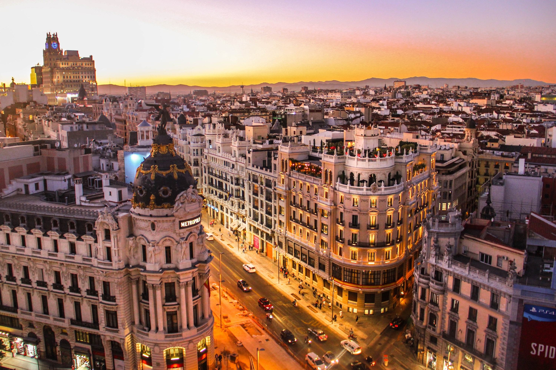 Gran Via from above, Madrid, Spain.